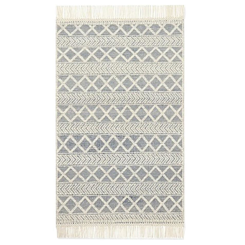 BLUE & CREAM LATTICE RUG