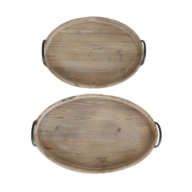 Decorative Wood Tray with Metal Handles