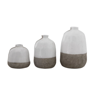 Grey & White Terra-cotta Vase