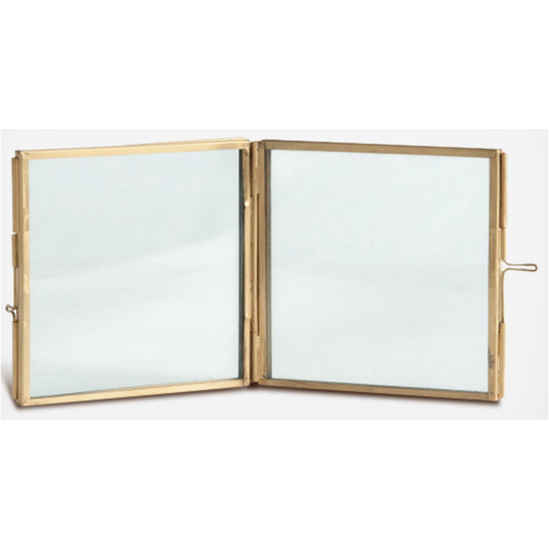 "4""x4"" Square Brass & Glass Photo Frame"
