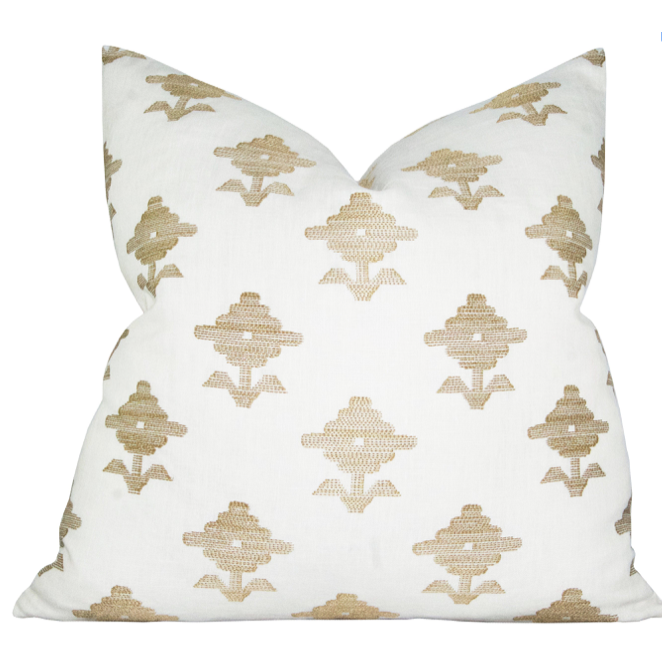Rubia Embroidery Ivory Pillow Cover