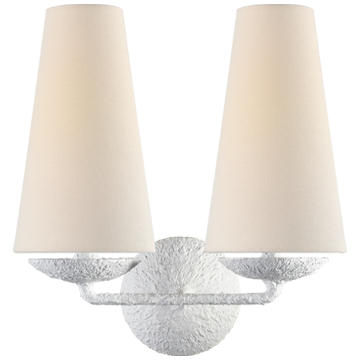 Fontaine Double Sconce in White with Linen Shades