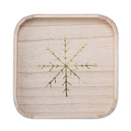 Square Wood Tray with Gold Snowflake
