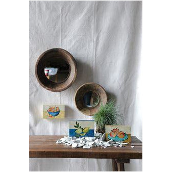 Vintage Wood Bowl Framed Mirror