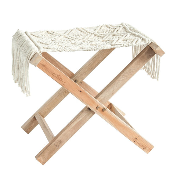 Cream Macrame Folding Stool