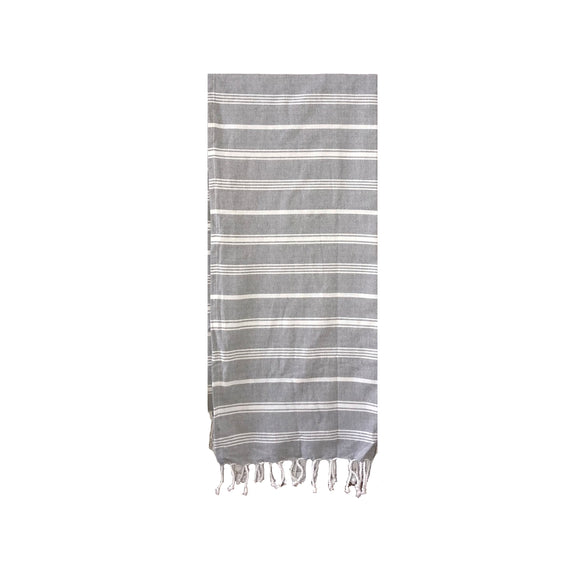 Grey & Natural Woven Fringe Throw