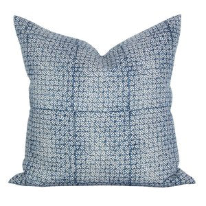Batik Pillow in Pacific Blue Linen