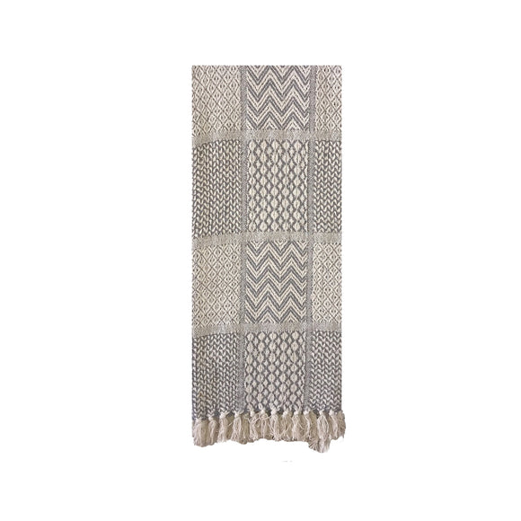 Knit Throw with Fringe Pattern