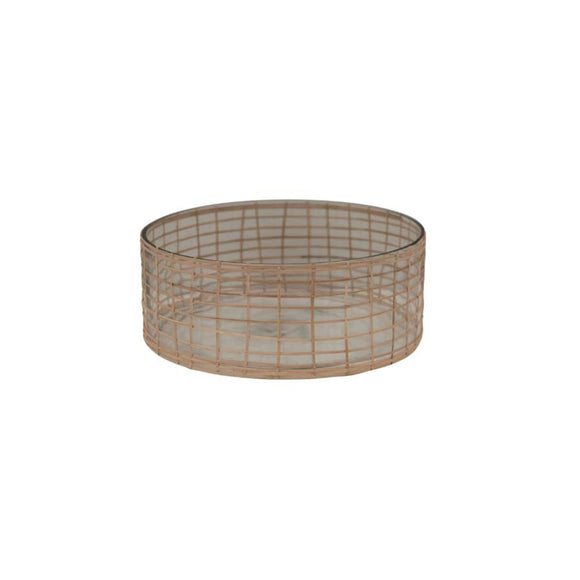 Rattan & Glass Bowl