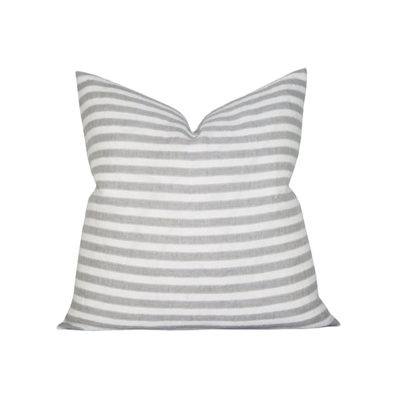 Regatta Linen Stripe Stone pillow cover