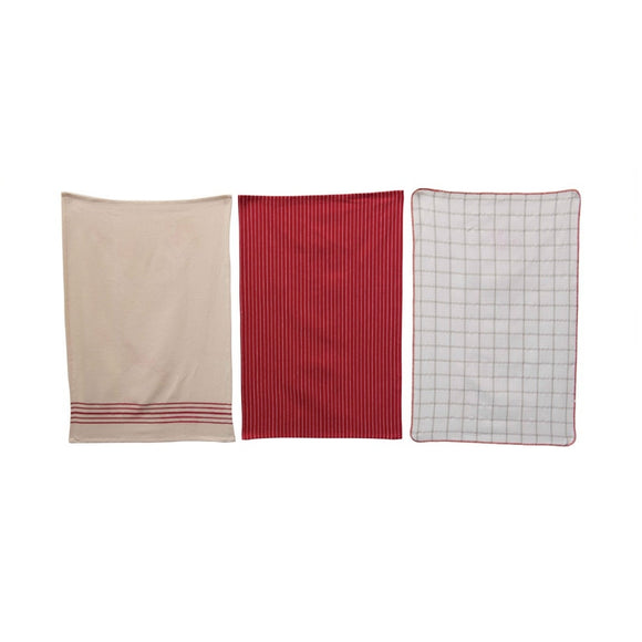 Red Holiday Tea Towel Set