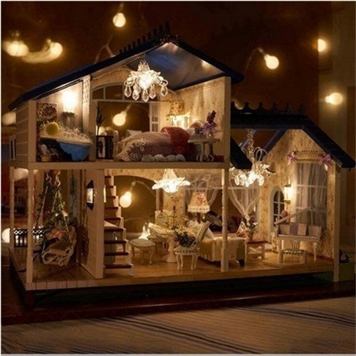 DIY Luxury Villa Furniture Wooden Dollhouse With Light