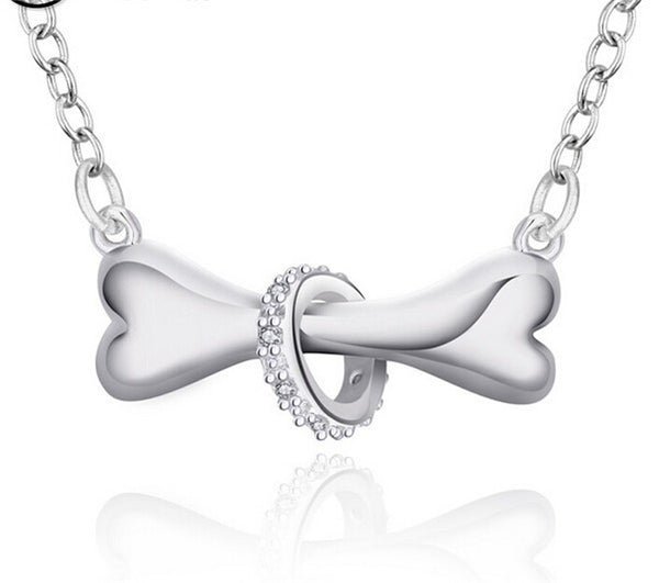Dog Bone Shape Silver Necklace Pendant Chain