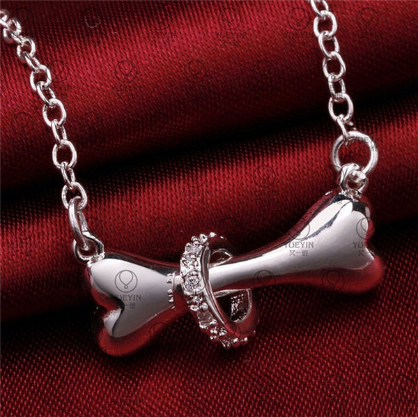 Silver Necklace Pendant Chain - Dog Bone Shape