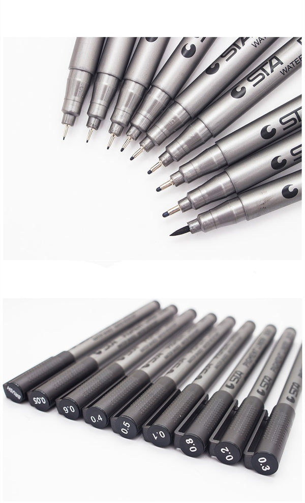 Pigment Liner Black Marker Pen With Various Tips Sizes