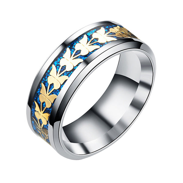 Colorful Enamel Butterfly Flower Ring For Woman
