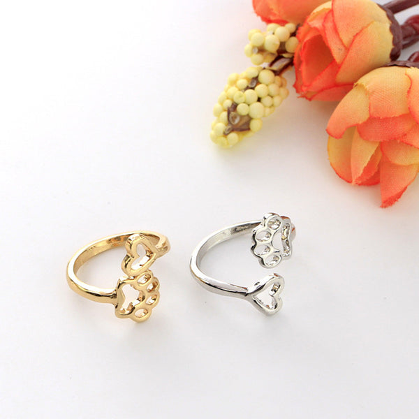 Beauty Hollow Pet Paw Print Love Heart Adjustable Ring