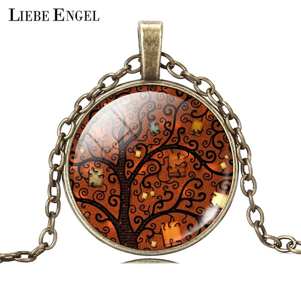 Life Tree Art Glass Cabochon Pendant Necklace with Bronze Chain