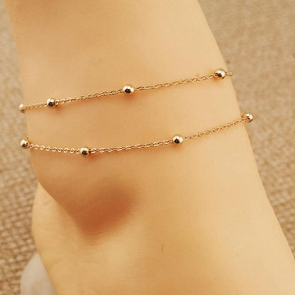 Cute Gold Double Chain Ankle Bracelet Jewelry