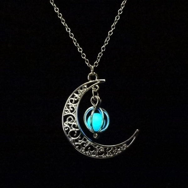 Moon shape Glow In the dark Necklace Hollow with ball Luminous