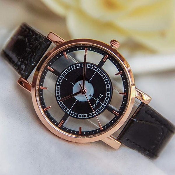 Neutral Hollow Analog Wrist Watch For Women Fashion