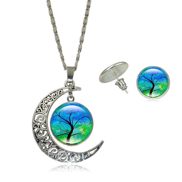 Tree Art Picture Pendant Crescent Moon Necklace