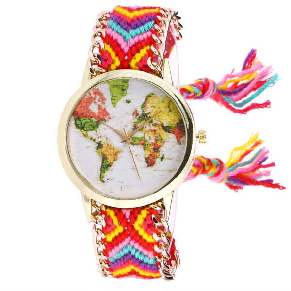 Map Knitted Weaved Rope Band Bracelet Quartz Dial Wrist Watch for Women