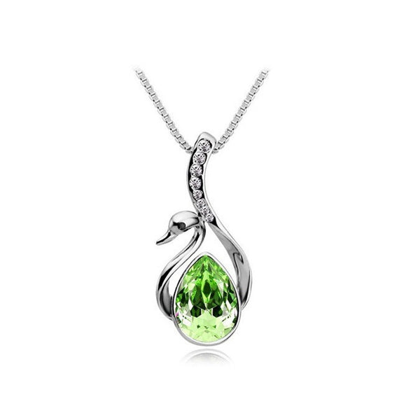 Beautiful Silver Plated Crystal Swan Pendant For Women