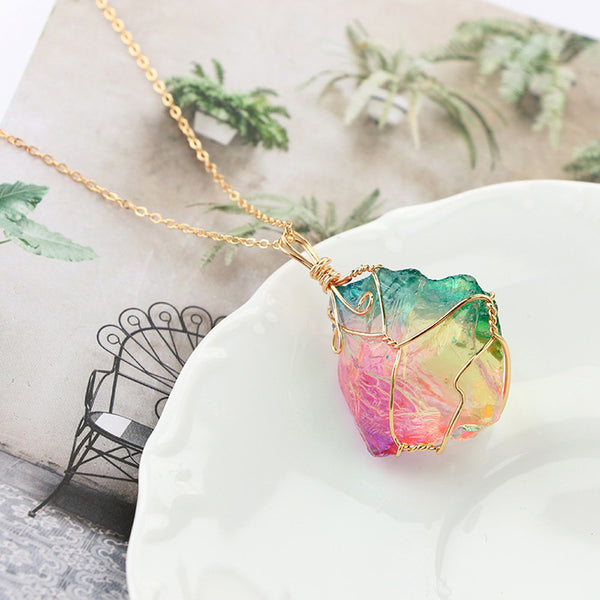 Rainbow Stone Necklace Gold Plated Quartz Pendant