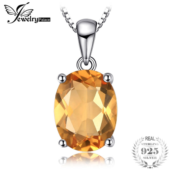 Oval 1.7ct Natural Citrine Birthstone Solitaire Pendant 925 Sterling Silver