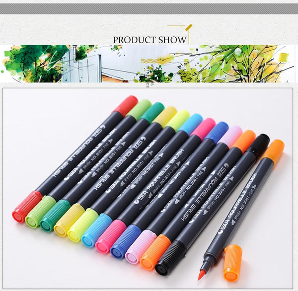 Watercolor Dual Tips Marker Pen Set For Coloring Books- Brush Tip 2.0 mm Fine Tip: 0.8 mm
