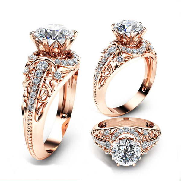 Luxury Wedding Round Cut 2.2CT White Topaz 14K Rose Gold Ring