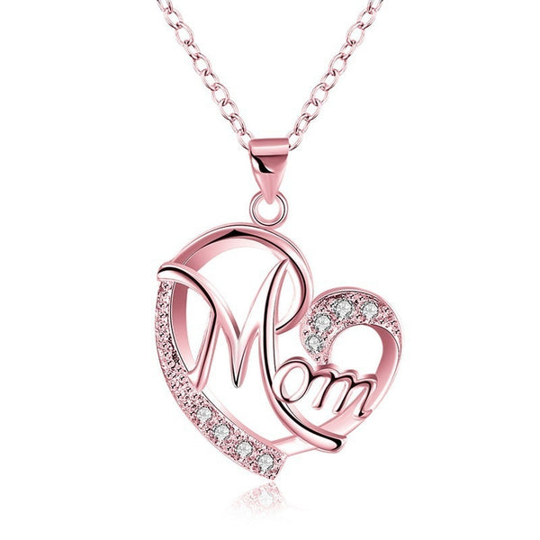 Rose Gold Mom's Love Shaped Diamond Necklace for women
