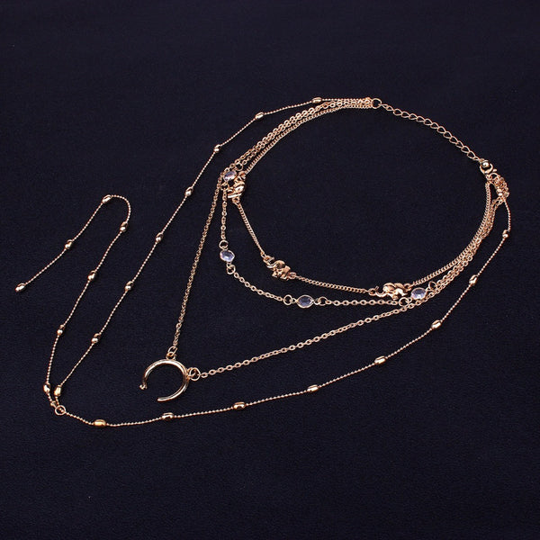 Women Collar Jewelry Half Moon Multi Layer Long Pendant Nacklaces