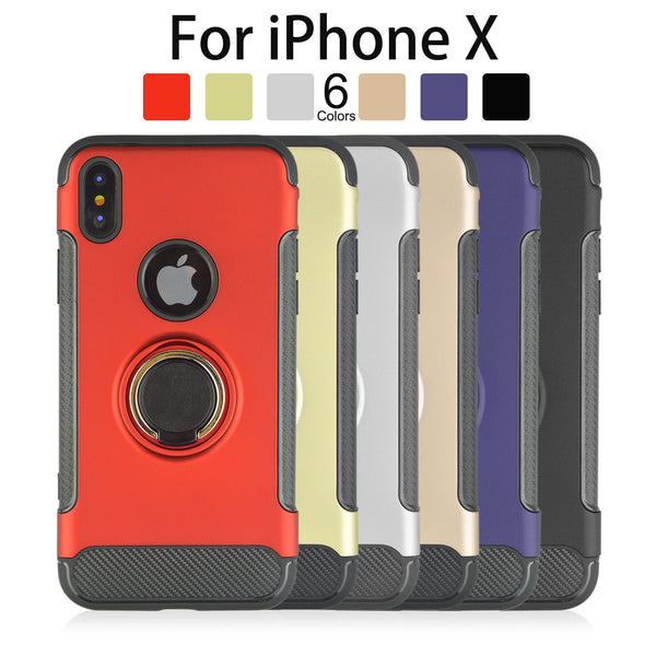 Shockproof Hard Phone Cover With 360 Rotate Ring Holder For iPhone X 8 7 6S 6 Plus