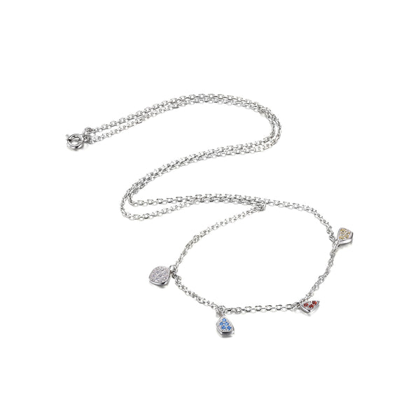 Fashion Multi color Dangling Charms Chain Choker Necklace Solid 925 Sterling Silver Gifts For Women