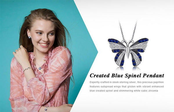 Butterfly Blue Spinel Pendant 100% 925 Sterling Silver for Woman Fashion