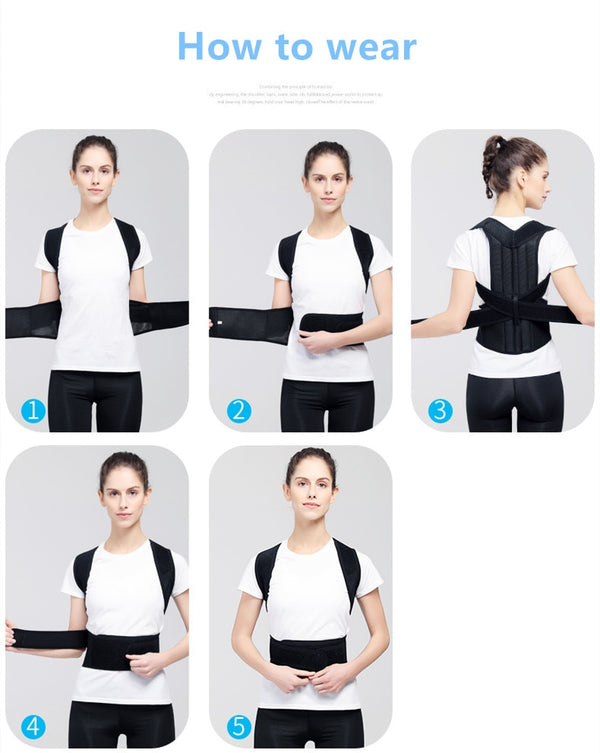 Adjustable Back Posture Corrector with Steel plate brace support For Men and Women to alleviate all types of back & shoulder pains.