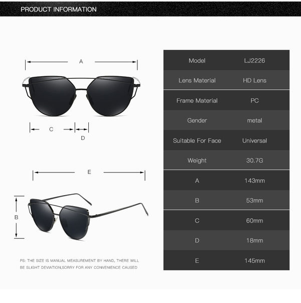 Cat Eye Flat Lens Designer Mirror Sun Glasses For Women