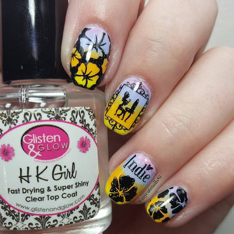 @nailsbymisscindy Polish Con nail stamping mani using Girly Bits nail stamping plate.