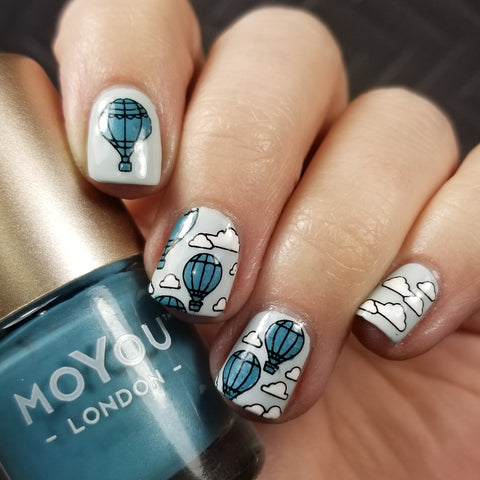 Hot air balloon nail art stamping using MoYou London Scandi Collection 02. Available in the US at www.beautometry.com.