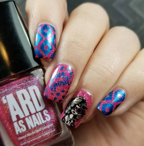 My Mani Box Exclusive Ard as Nails Pizzazz with nail stamping.