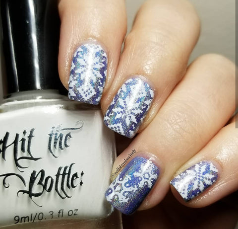 @nailsbymisscindy nail art stamping using Hit the Bottle stamping polish and Wikkid Ice Ice Baby.