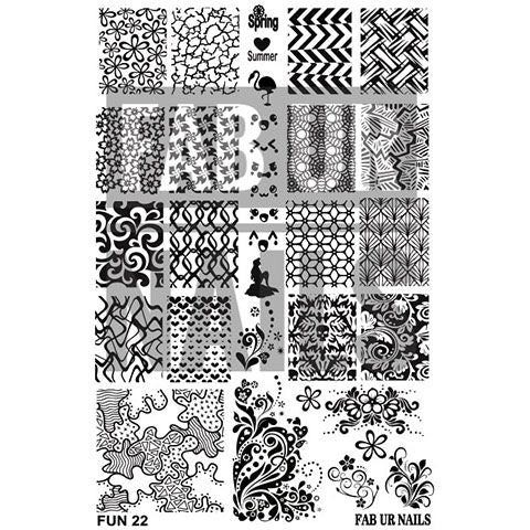 Fab Ur Nails- Stamping Plate- FUN22