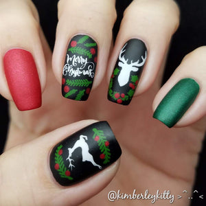 clear jelly stamper reindeer nail art