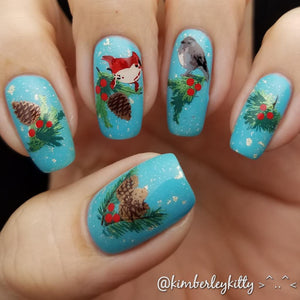 clear jelly stamper pinecone nail art