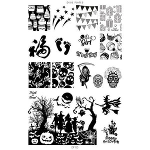 Dixie Plate DP05 is great for Halloween nail stamping and any celebration. It has cats, pumpkins, ghosts, witch, cat and spooky trees.