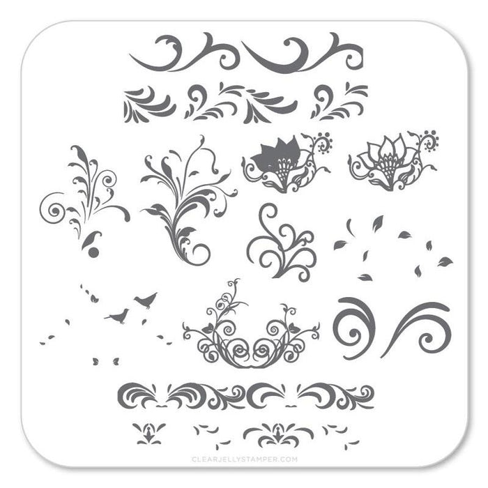 Clear Jelly Stamper- CjS-049- Petit Swirls