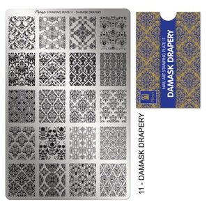 Moyra Stamping Plate 11 Damask Drapery. Available in the US at www.beautometry.com.