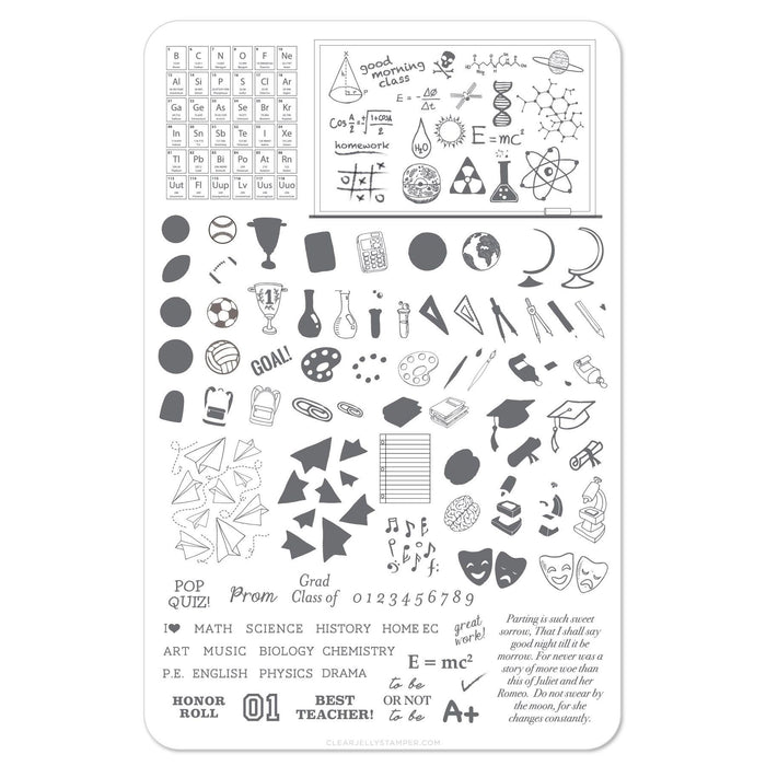 Clear Jelly Stamper- CjS-043- Back to School Scholastic